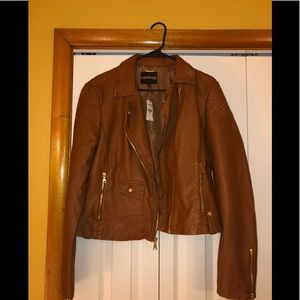 NWT EXPRESS COGNAC FAUX LEATHER MOTO JACKET
